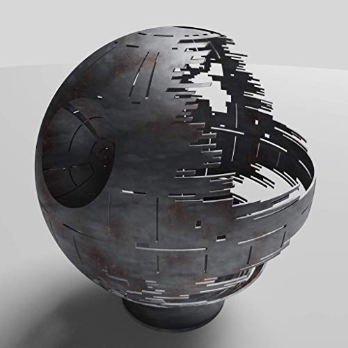 Death Star Firepit (Natural Gas), Silver Ceramic, 37\