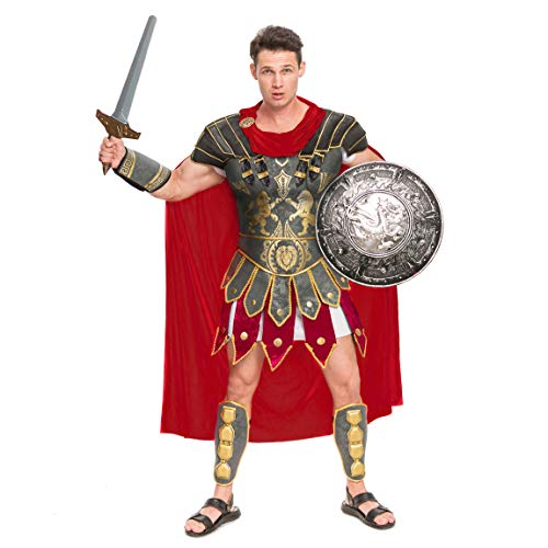 Spooktacular Creations Brave Men's Roman Gladiator Costume Set for Halloween Audacious Dress Up Party (XLarge) Brown