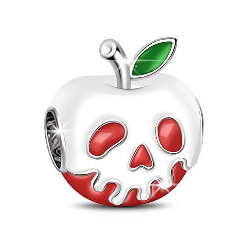 GNOCE - Abalorio de plata de ley 925 con forma de manzana roja con hoja verde claro para regalo de Navidad de Halloween