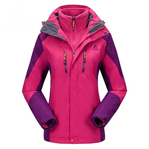 emansmoer Femme 3 en 1 Imperméable Respirant Outdoor Sport Veste de Camping Randonnée Manteau avec Veste Polaire (XXX-Large, Rose Rouge)