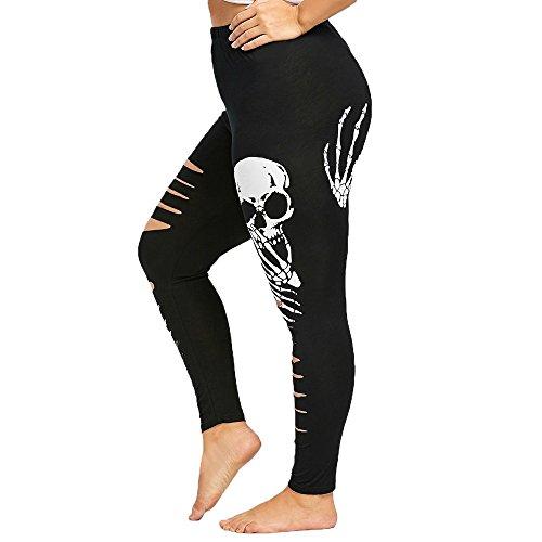 Shinehua Destroyed Leggings voor dames, high taille, skinny broek, skull, yogabroek, geribbeld, casual, lange broek, hoge taille, loopbroek, fitness, elastische leggings