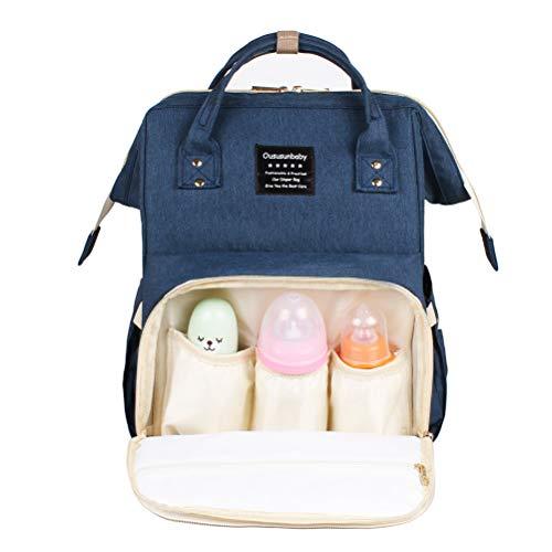 JIAHE Bolsa de pañales para bebé con Interfaz USB Gran Capacidad Bolsa de pañales a Prueba de Agua Mamá Maternidad Mochila de Viaje Bolso de enfermería,Blue