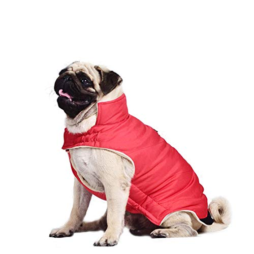 Lohugo Waterproof Pet Dog Winter Warm Coat Vest, Windproof And Snowproof Lamb Velvet Lining Pet Dog Vest Clothes With Hidden Beam Holes Red XL length 15.35 neck 10.62 bust 21.65