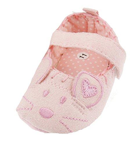 Glamour Girlz Bébé Fille Coton première Walker Rose Mouse Landau Chaussures Chaussons Sangles Newborn-18 mois - Rose - M