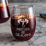 Mother of Dragons Wine Glass - Valentines Day Gift - Personalized Game of Thrones Merchandise, Gift for Mom, Stemless Wine Glass set of 4,6,8, or 12. Large 21oz that doubles as water or juice Glass!