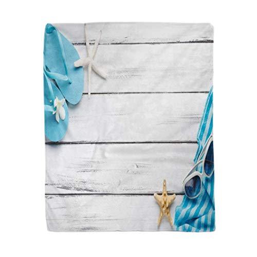 Coperta morbida da 150 x 150 cm, coperta e pantofole da spiaggia su legno, estate spiaggia, calda e accogliente coperta in flanella, per divano o poltrona, soggiorno camera da letto
