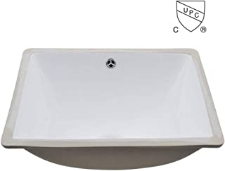 KES cUPC Bathroom Rectangular Porcelain Undermount Sink White Undercounter Sink for Lavatory Vanity Cabinet Contemporary Style with Overflow, BUS110