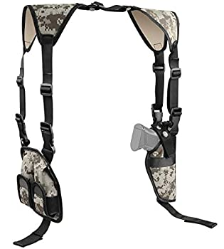 Feyachi Universal Shoulder Holster with Dual Mag Pouch Camo Ambidextrous Gun Shoulder Fits Most Pistols & Revolvers for Men and Women
