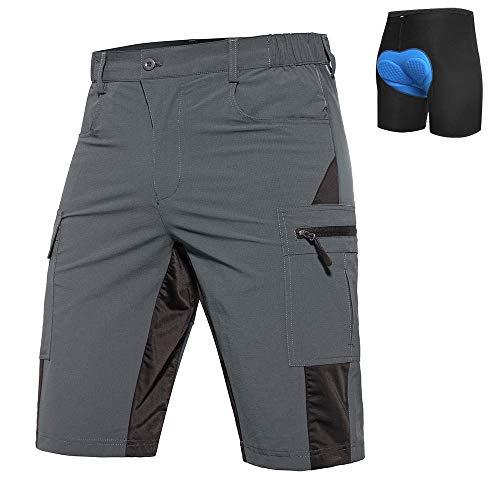 Vzteek Baggy Bike Cycling Shorts Mountain Bike Shorts with Padding (Grey, L)