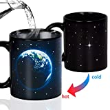 Manmon 12 Ounce earth Heat Sensitive Mug Changing Color Magic Coffee Ceramic Cup, Novelty for Xmas Funny Gifts