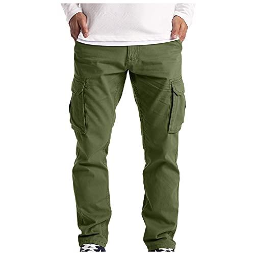 WXZZ Pantalones cargo para hombre, pantalones de combate, pantalones de trabajo, pantalones rectos para el tiempo libre, para correr, senderismo, con varios bolsillos Verde militar. XXXXXL