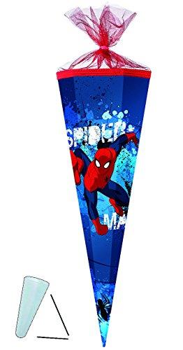 alles-meine.de GmbH Schultüte -  Spider-Man  - 35 cm - rund - mit Tüllabschluß - Zuckertüte - mit / ohne Kunststoff Spitze - für Jungen - Spiderman / Spinnen Man - Aktion Held ..