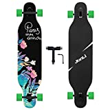 Junli 41 Inch Freeride Longboard Skateboard - Skateboard Cruiser for Cruising, Carving and Downhill(Flowers)