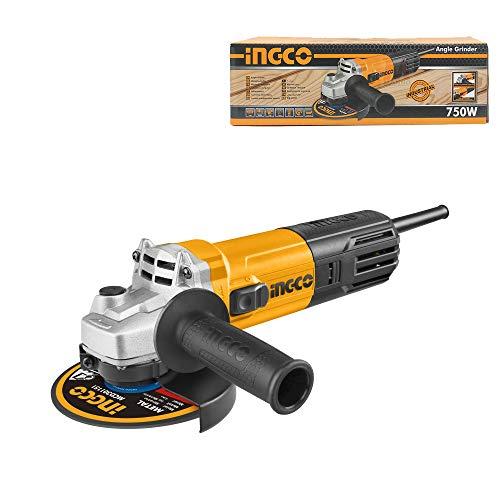Ingco Ag75018e - Amoladora angular eléctrica 750 W para discos de máx. 115 mm, casquillo M14
