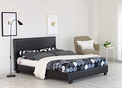 Home Treats Small Double Bed Frame   Faux Leather Bed Frames   Black Prado Italia (Small Double)