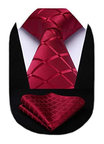 HISDERN Dai un'occhiata Cravatta da sposa Fazzoletto Cravatta da uomo & Pocket Square Set (Vino Rosso)