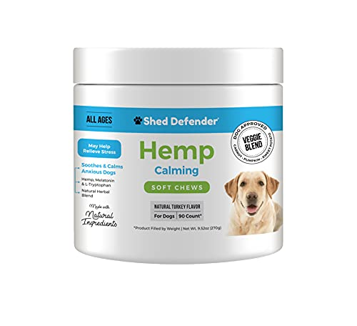 Shed Defender Organic Calming Soft Chew Supplements for Dogs –Natural Calming Aid – Vet Approved - Anxiety  Stress Relief – 100% Herbal Blend Helps Relax & Calm Nervous  Aggressive Behavior