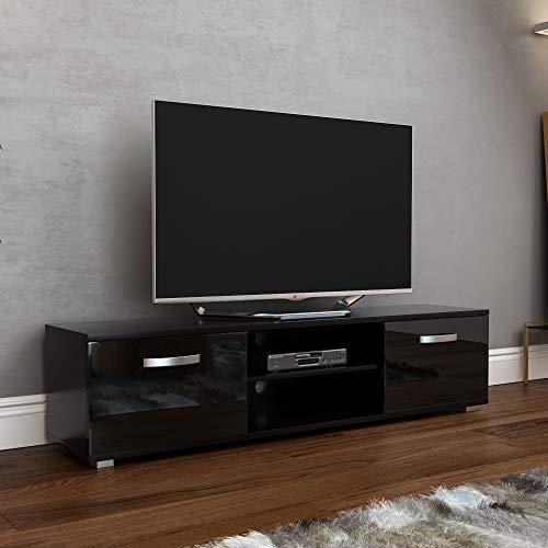 Vida Designs Cosmo Mueble de TV de 2 Puertas Moderno Brillante Mate MDF para Sala de Estar, Color Negro 160 cm, 160cm-No LED Lights