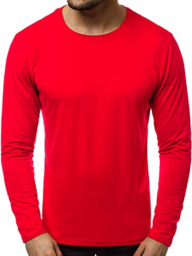OZONEE Herren Langarmshirt Longsleeve Sweatshirt T-Shirt Slim Fit Sport Langarm Top Rundhals-Ausschnitt Regular Round Neck Long Sleeve U-Neck Sweats Langarmhemd JS/CX01 ROT XXL