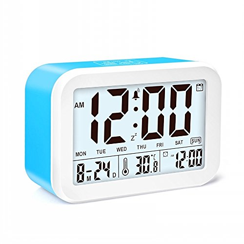 JZK Smart Digital - Wecker mit Temperatur Kalender schlummern Funktion 3 Alarmmodus intelligent LCD-Display batteriebetrieben für Reisebüro Schlafzimmer Kinder