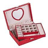 caja de joyería, caja de viaje de belleza de cuero, caja de joyería portátil, joyería de la Sra. Joyería, con espejo de...