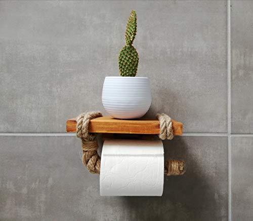 Portarrollos de papel higiénico con estante – Estante de madera y cuerda para teléfono o decoración