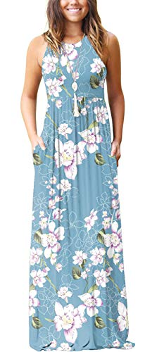GRECERELLE Women's Summer Sleeveless Racerback Loose Plain Maxi Dress Floral Print Casual Long Dresses with Pockets FP Light Blue-Medium