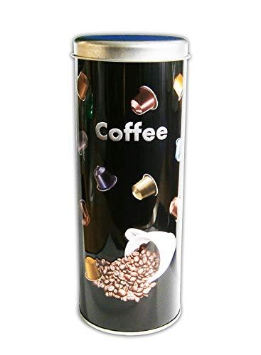 Anik-Shop KAFFEEDOSE mit Dekor Ø7,5x20cm Kaffeepaddose Kaffee Paddose Coffee Blechdose 66