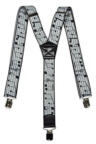 Olata Formal Bretelle regolabili Y-Forme con Musica Design, 3.5cm larghezza. Note Musicali