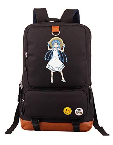 Cosstars Shinryaku! Ika Musume Anime Bolsos Mochila para Portátil Bolsa para la Escuela Estudiantes Backpack Negro /3