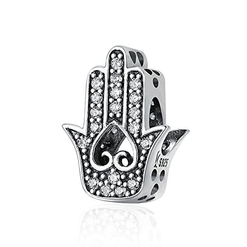 LIJIAN DIY 925 Sterling Jewelry Charm Beads Mano Genuina De Fátima, Clear Make Original Pandora Collares Pulseras Y Tobilleras Regalos para Mujeres