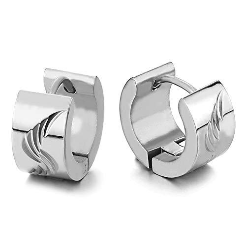 Paar Creolen für Herren Damen, Edelstahl Huggie Ohr Manschette Ohrringe mit Rillen Laser-Muster