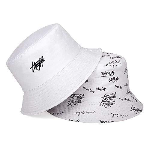 TUOLUO Sombrero De Pescador De Doble Cara Sombrero De Sol De Verano para Mujer Impresión De Letras Sombrero De Cuenca Salvaje Sombrero De Cubo De Hip Hop Blanco