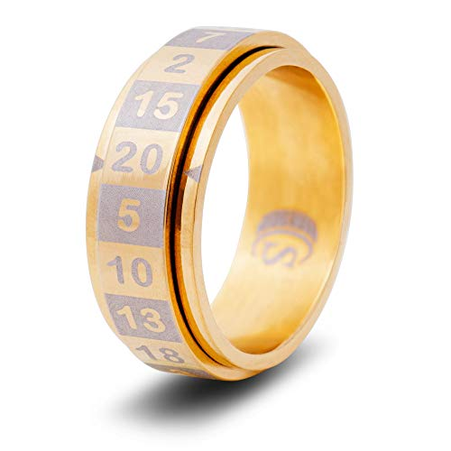 CritSuccess d20 Dice Ring with 20 Sided Die Spinner (Size 9.5 - Stainless Steel - Gold)
