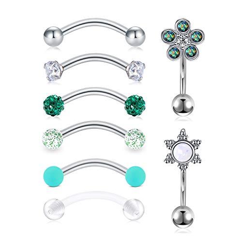 Mayhoop 16G Rook Earrings Piercing Jewelry Daith Snug Eyebrow Rings Piercing Surgical Steel Curved Barbell Anti Tragus Forward Helix Piercings for Women Men