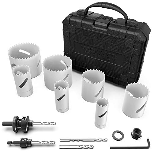 Ryker Hardware Bimetal Hole Saw Kit with Arbors and Replacement Drill Bits, 12 Pc. Set, Heavy Duty Steel Construction for Boring Wood, Aluminum, Metal, or PVC, Plumbing and DIY Carpentry