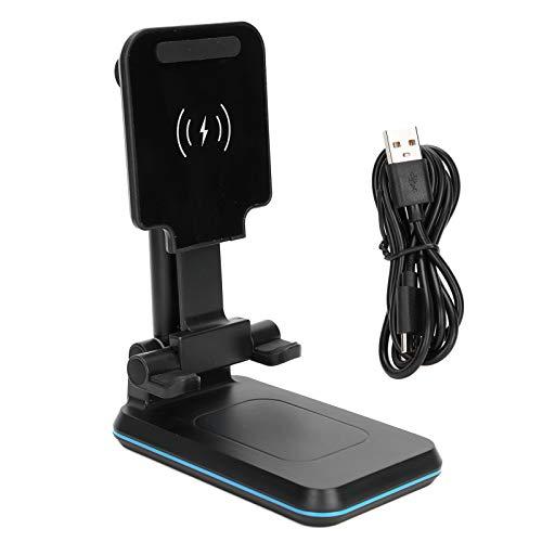 Soporte de Carga para teléfono inalámbrico, Soporte para Cargador de teléfono Tipo C, Soporte de Carga portátil Plegable para teléfono móvil/Tableta Universal (Negro)
