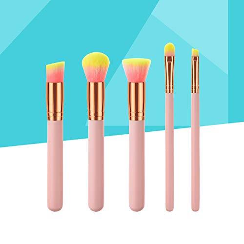 Lurrose 5 pochettes de brosse cosmétique confortable manche de bois de nylon fibre de poudre brosse de nettoyage femme rose