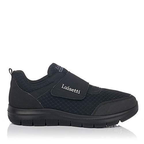 LUISETTI 31104 Zapatilla Velcro Hombre Negro 42