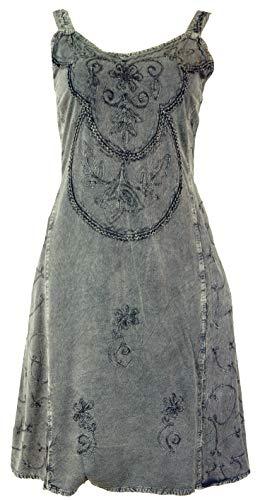 Guru-Shop, Geborduurde Boho Zomerjurk, Midi-jurk, Indiase Hippiejurk in 3/4 Lengte, Beige, Synthetisch, Size:14, Lange Midi-jurken