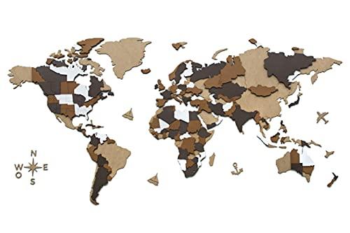 CONTRAXT Mapa Mundi Pared Grande 3D - Cuadro mapamundi Gigante Madera Decoracion Pared Paneles Decorativos 3D Murales Vintage...