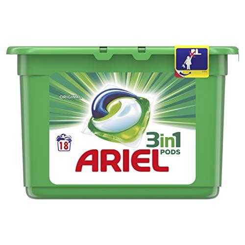 Ariel Todo En Uno Pods Regular Detergente En Cápsulas 18 Lavados, Con Lavado A 20°C Y Perfume Duradero