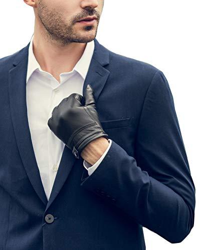YISEVEN Hombre Guantes de cuero de piel de cordero con tres puntos de lana forrada y mano natural real Warmfor Vestido de invierno de conducción de regalos de trabajo de motocicleta, negro S
