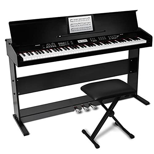 Piano Digital Alesis Virtue 88 teclas com pedais, suporte e banco ajustável
