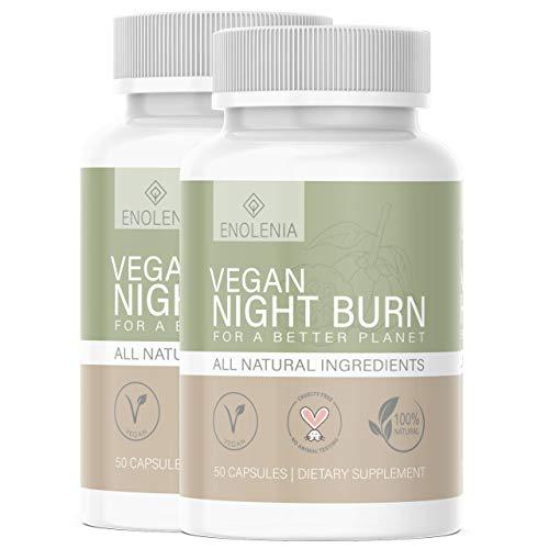 NEU: Enolenia® NIGHT F-BURN Kapseln VEGAN - 1 Kapsel pro Nacht mit Garcinia Cambogia Extrakt - für Männer & Frauen, schnell + Hochdosiert - aus hochwertiger Produktion in Deutschland (2x)