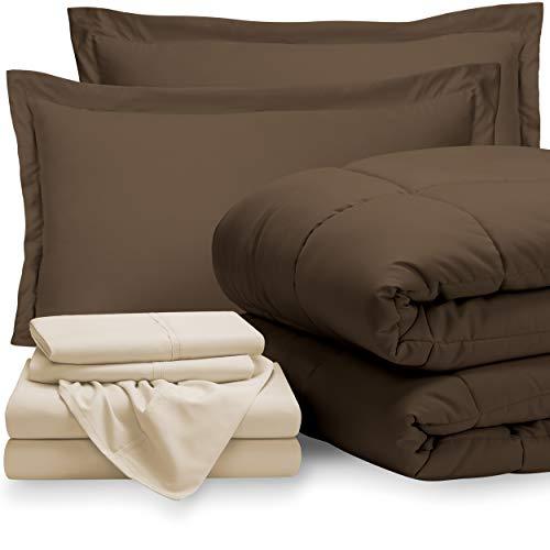 Bare Home Bed-in-A-Bag 7 Piece Comforter & Sheet Set - Full - Goose Down Alternative - Ultra-Soft 1800 Premium - Hypoallergenic - Breathable Bedding Set (Full, Grey/Light Grey)