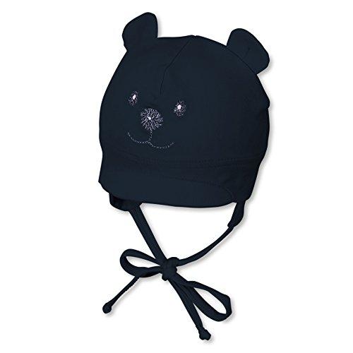Sterntaler Schirmmütze für Jungen mit Bindebändern, Nackenschutz und niedlichem Bärchen-Motiv, Alter: 5-6 Monate, Größe: 43, Blau (Marine)