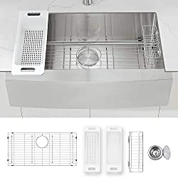 ZUHNE Prato 33 Inch Single Bowl Farm House 16G Stainless Steel Kitchen Sink