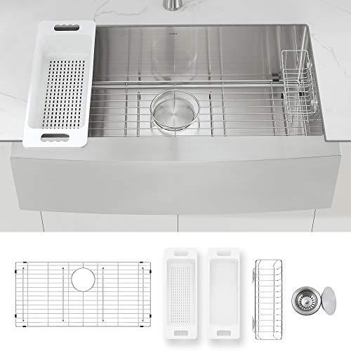 ZUHNE 33-Inch Single Bowl Farmhouse Stainless Steel Kitchen Sink