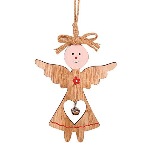 Snlaevx Weihnachten Anhänger Holzanhänger Weihnachtsbaum Dekoration DIY Anhänger Weihnachtsmann Engel Tür Hängen für Weihnachtsbaum Home Verzierung Wand Türschild Fenster (C)